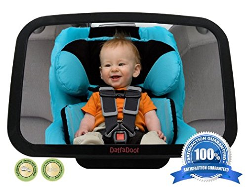 DaffaDoot Back Seat Mirror - Extra Large Baby Rear Seat Mirror - Spring Clearance - Superior View, Shatterproof, *Crash-Tested* & Certified - Perfect Pivot for Perfect View of Baby - Backed by our 100% Satisfaction Guarantee
