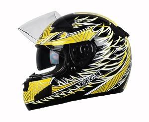 Vega Attitude Full Face Helmet with Fierce Graphic (Yellow, Medium)