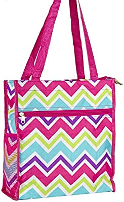 World Traveler Chevron Zigzag Collection Travel Tote Bag 12-inch