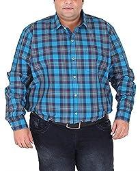 Xmex Men's Cotton Shirt (KR-703BLUE, Blue, XXXX-Large)