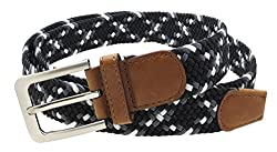 Mens Colorful Braided Stretch Belt Silver Metal Buckle (Black/Grey/White-M)