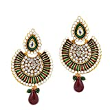 Artisan Crafted Gold Plated Traditional Look Chandelier Earrings with Enamel, Pearl, Cz and Stones