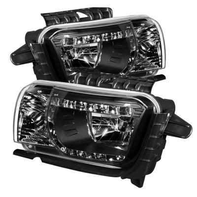 Chevy Camero 2010 - Up DRL LED Crystal Headlights - Black-NEW! ~*~*~