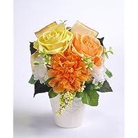バラとリボンのアレンジメント【イエロー×オレンジ】