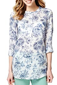 M&S Collection Linen Blend 2 Pockets Floral Shirt [T41-7007L-S]