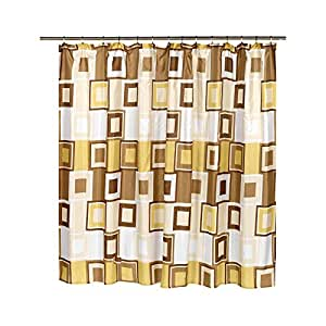 Contempo Tan And Brown 108 Inch Extra Wide Fabric Shower Curtain