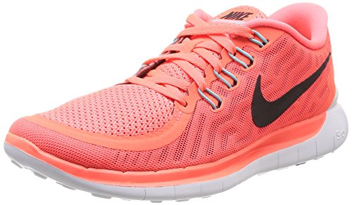 Nike Women's Free 5.0 Ht Lv/Blck/Lv Glw/Brght Crmsn Running Shoe 8 Women US