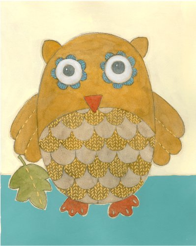 Green Frog Art Wall Decor, Lillian's Owl Lovie I