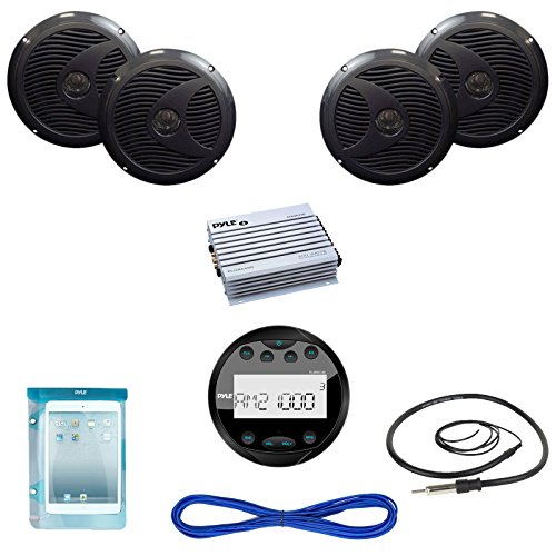"Pyle Audio PLMR19UB04 Marine Bluetooth USB AUX Receiver 2 Pairs 6.5"" Speakers 400-Watt Amplifier"