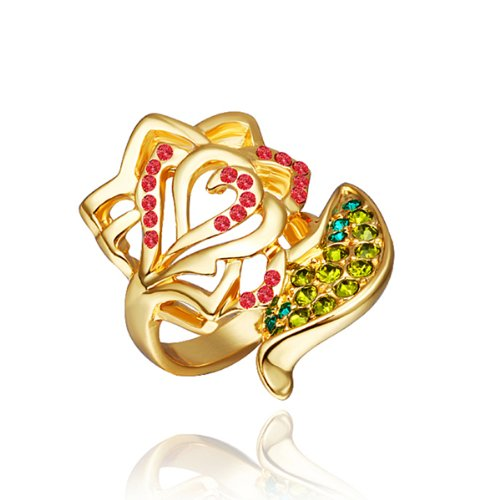 18K Yellow Gold Plated Colorful Crystal Pave Rose Flower And Leaf Cocktail Ring
