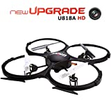 UDI Upgraded Version U818A-HD 2.4GHz 4 CH 6 Axis Gyro Headless RC Quadcopter Drone RTF UFO With 2MP HD Camera, Speed Mode Flip Mode Return Home Function