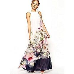 Babyonlinedress - Vestito - Collo a U - Senza maniche - Donna Fiori Large