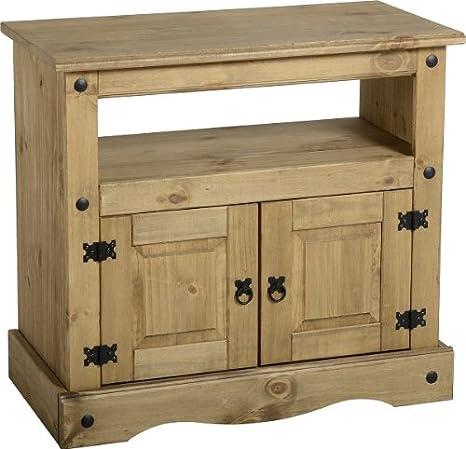 Mueble para televisor Corona/de almacenamiento/Con función de atril - madera de pino maciza - acabado encerado
