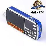 CSMARTE 多機能FM/AMポケットラジオ MP3プレーヤー 拡声器 ラッパ の機能付き 音楽が輸入する糸 USD充電できる (088 青)