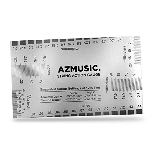 StewMac String Action Gauge And Ruler The Original measuring tool for acoustic and electric guitar Inches and bass setup Stainless Steel Designed by StewMac