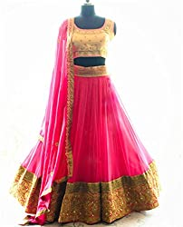Shree Ganesh Women's Pink Net Traditional Lahenga Choli [SL 4(SGF_E)]