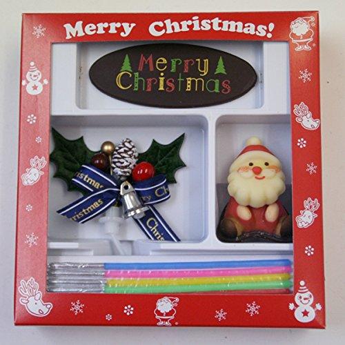 【冷凍便】クリスマスケーキデコレーションオーナメントセットCI(サンタ、チョコレートプレート、ひいらぎ、キャンドル4点セット)