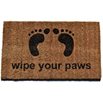 Imports Decor Vinyl Back Coir DoormatWipe Your Paws 18-Inch by 30-Inch