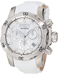 Invicta Women's 0950 Venom Reserve Chronograph White Mother-Of-Pearl Dial White Leather Watch