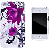 Zooky® Purple TPU flower Case / Cover / Shell for Apple iPhone 4 / 4S