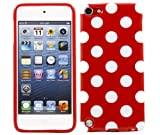 ITALKonline ProGel RED WHITE POLKA DOT Super Hydro Gel TPU Protective Armour/Case/Skin/Cover/Shell for Apple iPod Touch 5 5G (5th Generation) 8GB, 32GB, 64GB - Solid Black