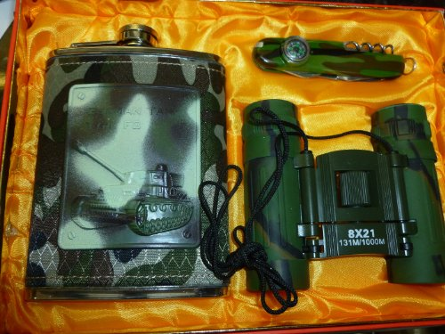 New&Original Gift Set For Outdoors Living(Flask, Binocular, Swiss Knife W/Compass)