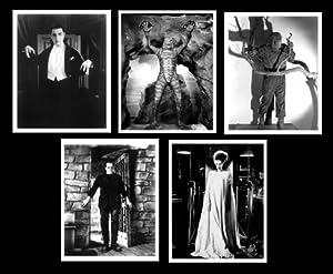 Classic Movie Monsters 8x10 Photo 01 Collection FIVE (5) Different Boris Karloff Elsa Lanchester Bela Lugosi, Lon Chaney Jr. Frankenstein, Bride of Frankenstein, Dracula, Wolf Man, Creature from the Black Lagoon Movie Monster