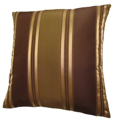 Gold Brown Throw Pillows : NEW 24x24 Bronze Gold and Brown Stripes Decorative Throw Pillow Cover