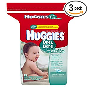 Huggies One & Done Refreshing Baby Wipes, Refill, 184-Count Pack (Pack of 3)