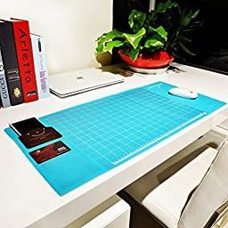 Cindy&Will Extra Large Protective Office Desk Mat/Mouse Pad/Table Organizer/Desk Protector/Card Schedule Pockets for Desktops and Laptops, 27.7\