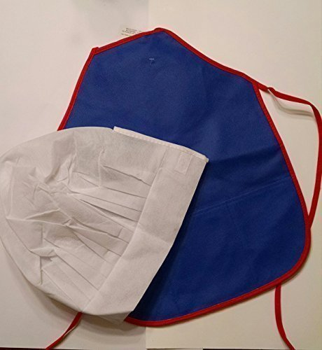 Childs Chef Hat & Apron Set, Blue/Red (Reversible) Apron and White Hat - 1