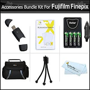 Accessories Bundle Kit For Fujifilm Finepix HS25EXR, S4200, S4300, S4400, S4500, S4000 S3200 S8200, S8300, S8400, S8500, S6700, S6800, S6900, S4600, S4700, S4800, S8600, S9200, S9400W Includes 4 AA Rechargeable NIMH Batteries + AC/DC Rapid Charger + More
