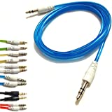 Blue 3.5mm To 3.5mm Stereo Car Audio Jack To Jack Tangle Free AUX Auxilliary Cable Lead For MICROMAX CANVAS MAGNUS...
