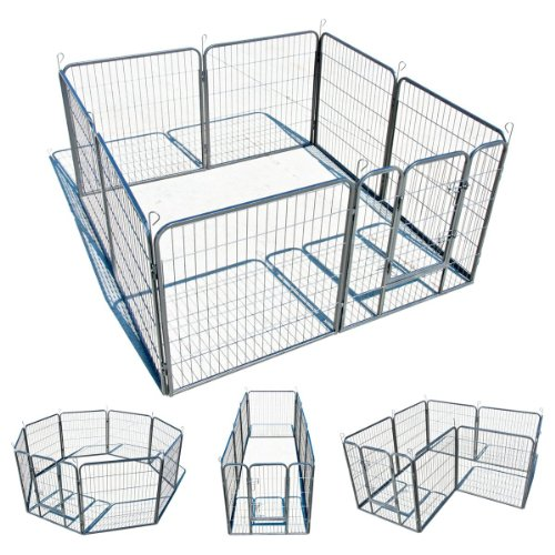 "My1stPet 8 Panels Metal Exercise Dog Playpen with Door, 32"", Hammertone"