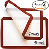 Teresa's Kitchen - 2x Silicone Baking Mat - Nonstick - Heat Resistant - Healthy Cooking - Food-Safe Certified - Oven Tray Liners and Cookie Sheets - Reusable - Premium Baking Sheets Set Full Size