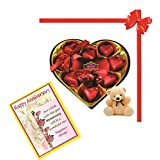 Skylofts Stylish Heart Chocolate Box With Teddy And Anniversary Wish Card