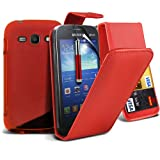 Super Bundle 4 IN 1 Accessory Pack For Samsung Galaxy Ace 3 Faux Leather 3 Credit / Debit Card Slots Leather flip Case Skin Cover + Screen Protector Guard + S-Line Wave Gel Case + Retractable Capacative Touch Screen Stylus Pen ( Red ) By *Aventus*