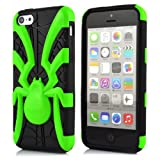 Meaci® Iphone 5c Case 3in1 Spider Model Combo Hybrid Defender Impact Body Armorbox Hard Case (green spider)