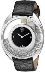 Versace Women's 86Q99D008 S009 Destiny Spirit Stainless Steel Micro-Spheres Watch with Black Leather Band