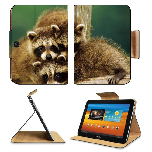 Raccoon Three Sit Beautiful Baby Samsung Galaxy Tab 3 10.1 Flip Case Stand Magnetic Cover Open Ports Customized Made To Order Support Ready Premium Deluxe Pu Leather 9 7/8 Inch (250Mm) X 7 1/4 Inch (183Mm) X 11/16 Inch (17Mm) Liil Galaxy Tab3 Cases Tab_10 front-928165