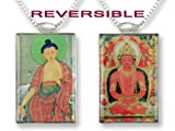 Buddhas of the Himalayas Reversible Art Glass Pendant Necklace