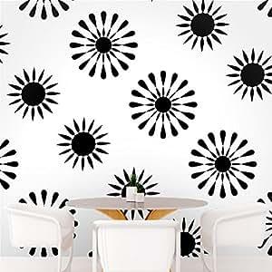 DeStudio Floral Tile Wall Decal, Size X Large & Color : BLACK