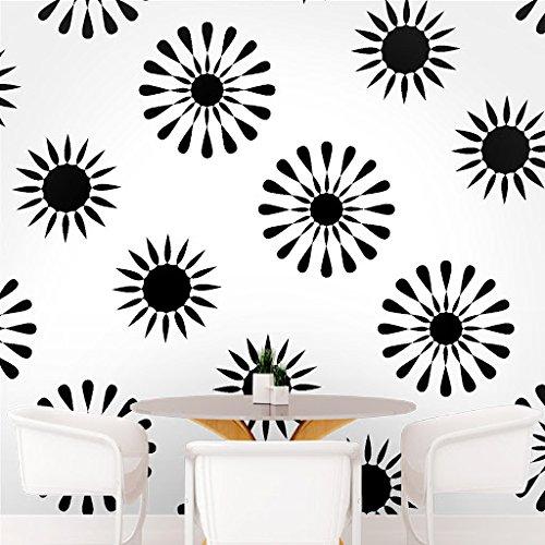 DeStudio Floral Tile Chalkboard Wall Decal, Size MEDIUM & Color : BLACK