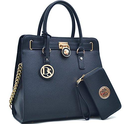 Image of MMK collection Women Fashion Pad-lock Satchel handbags with wallet~Designer Purse for Women ~Multi Pocket ~ Perfect Women Purse and wallet~ Beautiful Designer Handbag Set (02-2553(168)black)