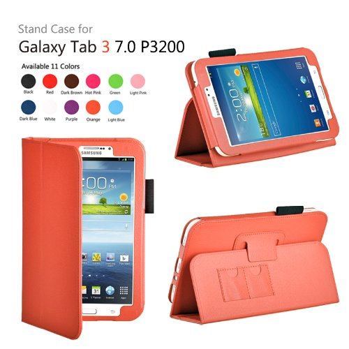 onWay(TM) Slim Fit Leather Case Cover for Samsung Galaxy Tab 3 7.0 inch Tablet (SM-T210/GT-P3200/P3210) + Gift: stylus touch pen x1, (Orange)