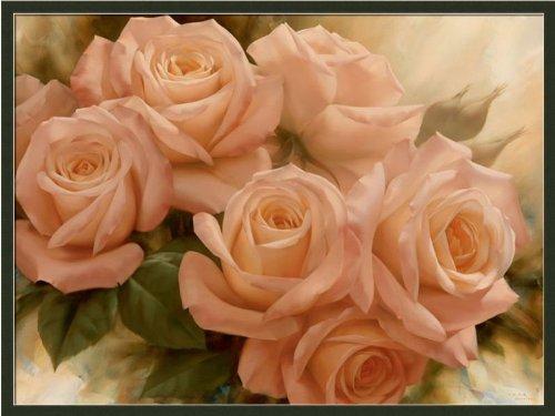 Peach Rose Splendor Ii By Igor Levashov Shabby Cottage Floral Art Print Framed Picture front-754121