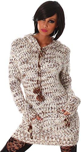Jela London Damen kuscheliger Strick-Pulli Pullover Strickkleid Minikleid Kapuze