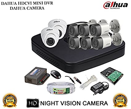 Dahua DH-HCVR4108C-S2 8CH Dvr, 6(DH-HAC-HFW1000RP) Bullet, 2(DH-HAC-HDW1000RP) Dome Camera (With Accessories, 2TB HDD)