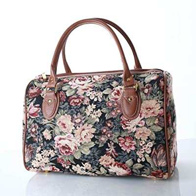 ladies peony flower canvas weekend bag/travel duffle bag/gym bag/cabin approved hand luggage
