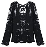 Kathlena Women's Semi Sheer Embroidery Floral Crochet Lace Blouse Top(FBA)